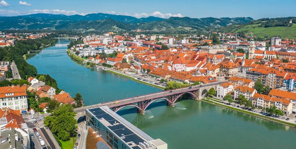 Vue aérienne de Maribor en Slovénie